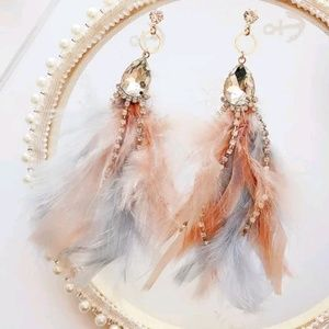 sparkly statement boho gypsy feather Earrings